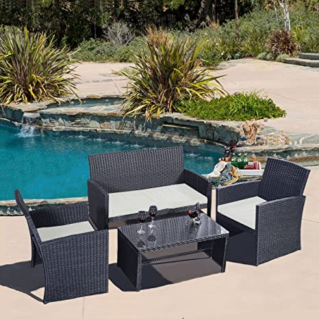 4 PC Rattan Patio Furniture Set Garden Lawn Sofa Black Wicker Cushioned Seat New