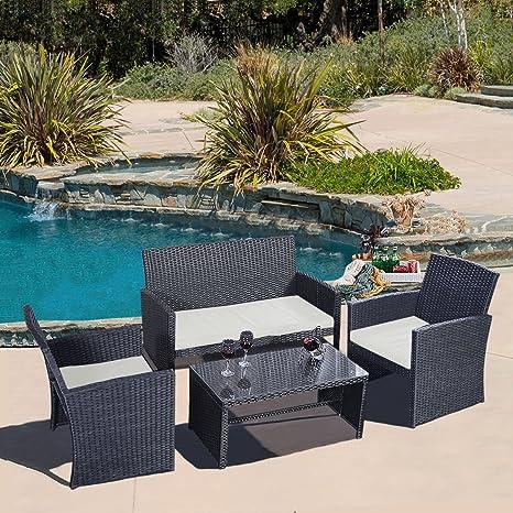 4 PC Rattan Patio Furniture Set Garden Lawn Sofa Black Wicker Cushioned Seat New