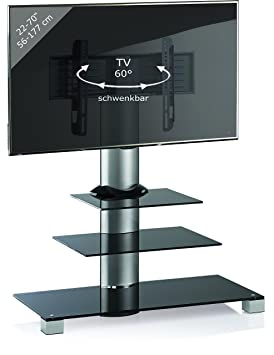 VCM TV Stand Amalo Maxi Black Glass with 2 Glass Shelves includes Role Set in Aluminium Finish, Silver