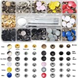 Snap Fastener Kit 12 Colors, 120 Sets Metal Snap On Buttons Set for Thin Leather Bracelet, Shirt, Skirt, Jacket, Jeans, Bags Repair and Decoration - 12.5mm in Diameter… (Color: 120 Colorful Snap, Tamaño: Snaps)