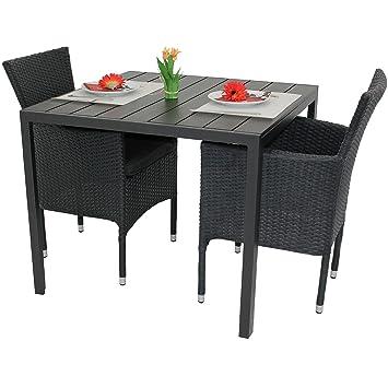 3tlg. Gartenmöbel-Set Aluminium Polywood Tisch 90x90cm + 2x Poly-Rattan Sessel stapelbar Balkonmöbel