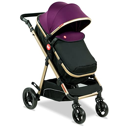 Hiker Luxury Stroller Cum Pram - Royal Plum