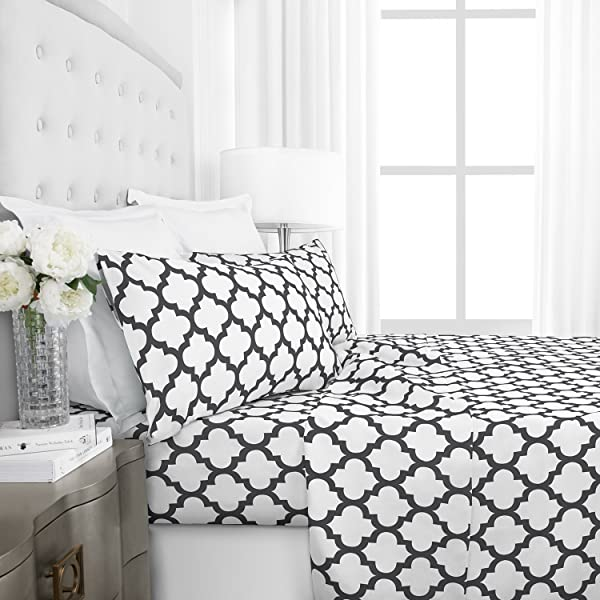 Egyptian Luxury 1800 Series Hotel Collection Quatrefoil Pattern Bed Sheet Set - Deep Pockets, Wrinkle and Fade Resistant, Hypoallergenic Printed Sheet and Pillow Case Set -Full - White (Color: White, Tamaño: Full)