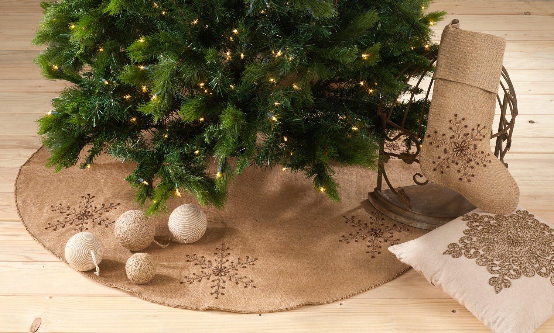 Jeweled Snowflake Burlap Design Christmas Tree Skirt