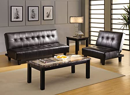 Furniture of America Creon Leatherette Futon Sofa, Black Finish