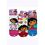 Assorted Dora the Explorer Socks (3 Piece Set) - Girls Low Cut Socks (Size 6-8)