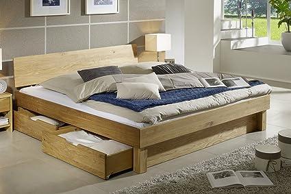 Bett mit Bettkästen 'Finn' 200x200cm Wildeiche massiv