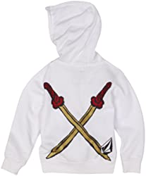 White Ninja Hoodie Back with Crossed Swords