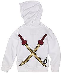 White Ninja Hoodie Back with Crossed Swords