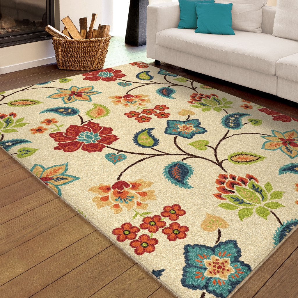 8x10 Indoor Outdoor Area Rugs: Orian Garden Chintz Woven Olefin Area Rug, Ivory