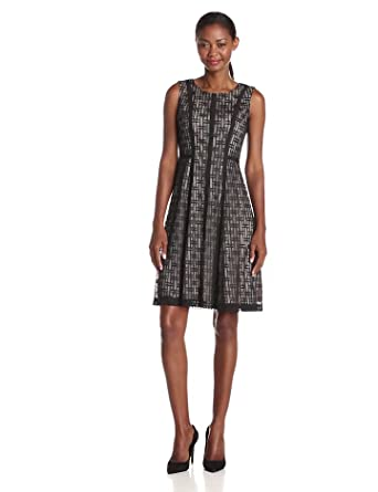 Anne Klein Women's Sleeveless Banded Lace Fit and Flare Dress, Black, 2