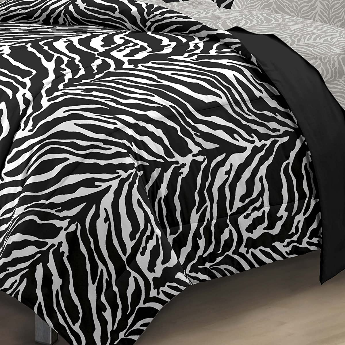 My Room Zebra Ultra Soft Microfiber Comforter Sheet Set,White/ Black, Twin/Twin X-Large