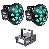 Package: (2) American DJ Vertigo HEX LED 12 Watt 6-Color HEX LED's Dance Floor Effect Lights + Chauvet DJ MINI STROBE LED Compact Easy-to-use Strobe Light