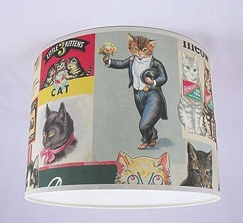 abat jour fait main 33cm cavallini vintage chats cuisine maison m264. Black Bedroom Furniture Sets. Home Design Ideas