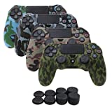 YoRHa Water Transfer Printing Camouflage Silicone Cover Skin Case for Sony PS4/slim/Pro Dualshock 4 controller x 4(forest+navy+desert+snow) With Pro thumb grips x 8 (Color: military pack, Tamaño: water print pack)