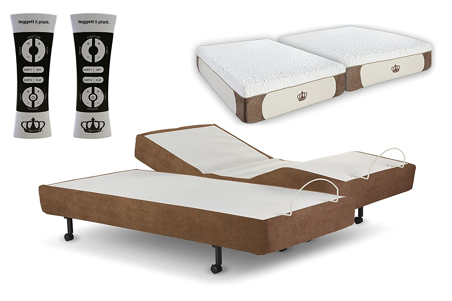 DynastyMattress Split King 14-Inch CoolBreeze GEL Memory Foam Mattress with  S-Cape Adjustable
