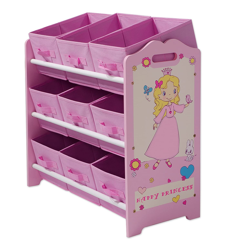 casa pura® Kinderregal Happy Princess | ein Traum in Rosa | mit 9 Aufbewahrungskörben günstig