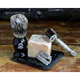 Complete Wet Shave Kit | Mike the Mason | Gift Set Includes: 1 Hawk Razor, 1 Pure 100% Badger Hair Brush, 1 Organic Honey Oatmeal Shave Bar, 5 Premium Mens Blades, and a Razor Stand