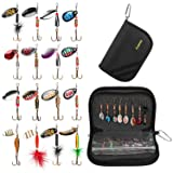 PLUSINNO 16pcs Fishing Lure Spinnerbait Kit with Portable Carry Bag,Bass Trout Salmon Hard Metal Spinner Baits Kit (Color: 16pcs spinner set with bag)