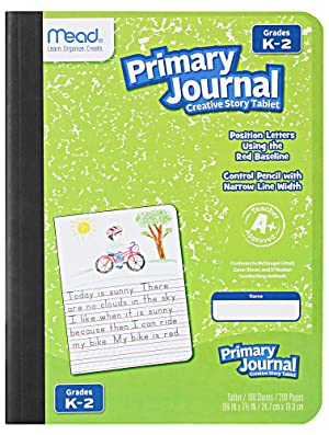 Mead Primary Journal Kindergarten Writing Tablet 6 Pack of Primary Composition Notebook Colors May Vary For Grades K- 2, 100 Sheets (200 Pages) Creative Story Notebooks for Kids 9 3/4 in by 7 1/2 in.