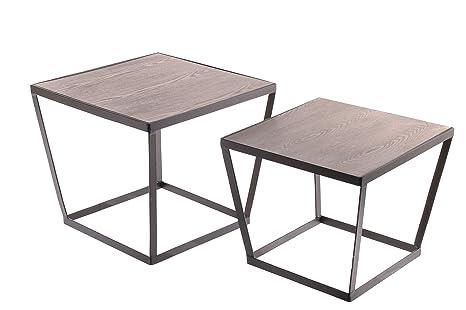Sukima Decor Retro Cube Set de 2 Mesitas Centro, Metal, Negro, 50x44x50 cm