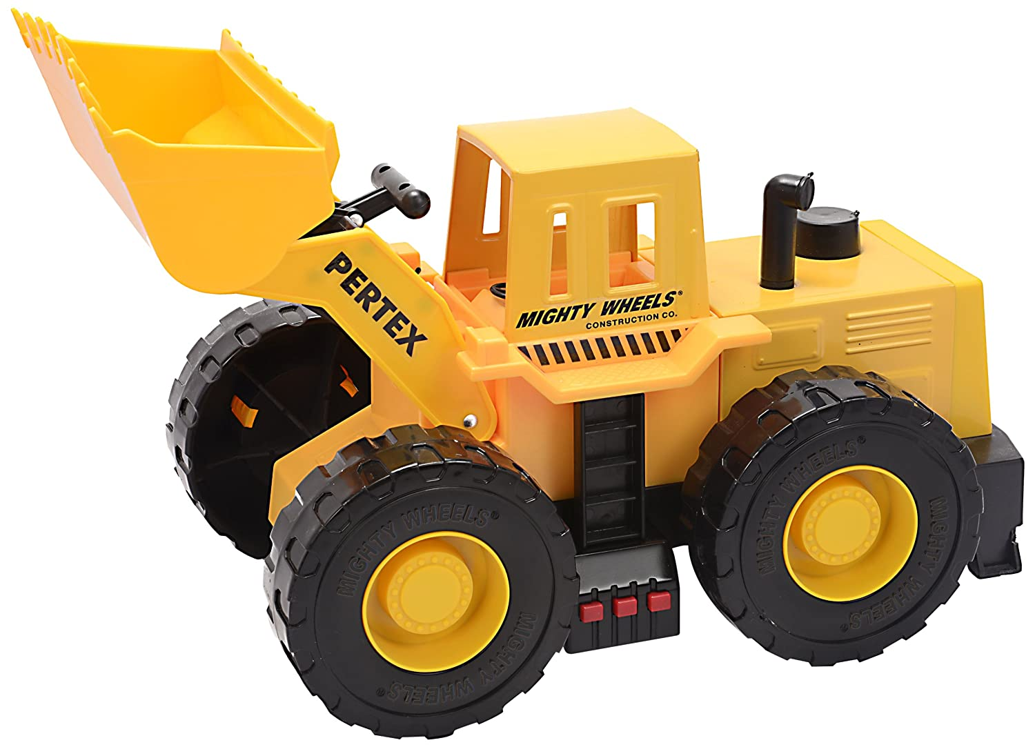 "Mighty Wheels 17.5"" Motorized Sound and Light Rev Up Heavy Steel Diecast Front Loader"