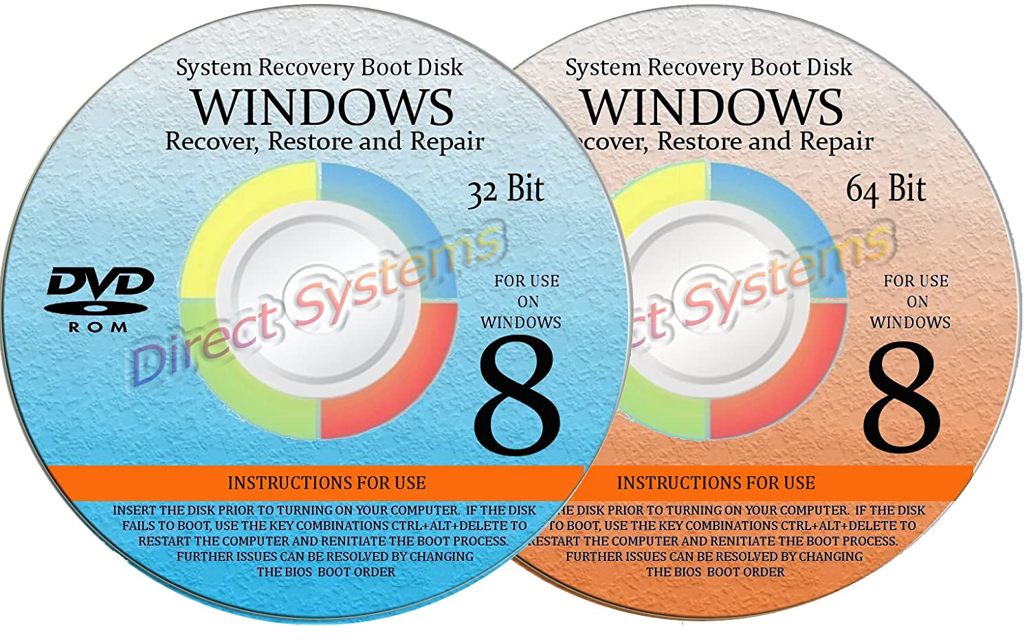 2 BOOT DISKS for RESTORE & RECOVERY for WINDOWS EIGHT 32 & 64 bit