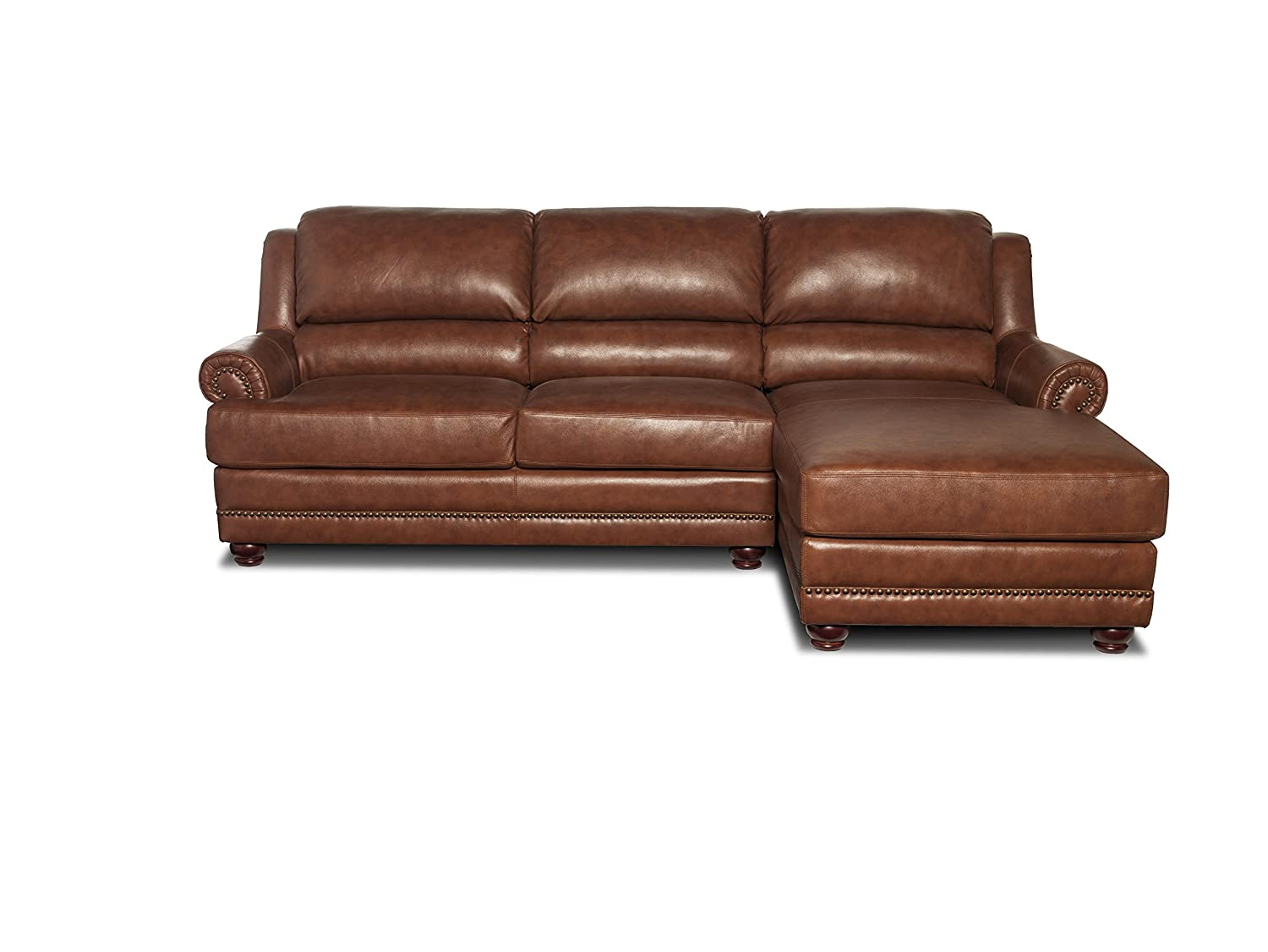 VENEZIA LEATHER SECTIONAL SOFA WITH CHAISE