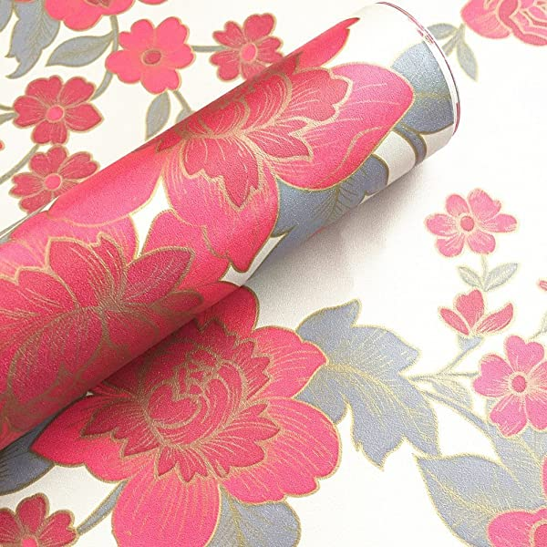 BESTERY Vintage Floral Adhesive Paper Vinyl Shelf Liner Peel Stick Dresser Drawer Sticker Home Deco 17.7inch by 118inch (Red) (Color: Red, Tamaño: 17.7W X 118L)