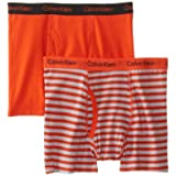 Calvin Klein Big Boys' Assorted 2 Pack Boxer Briefs, Red Stripes, Medium/8-10 (Color: Red Stripes/ Grey/Black, Tamaño: Medium/8-10)