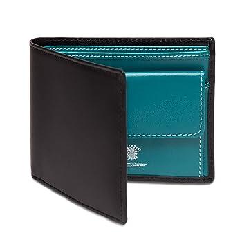 ETTINGER / エッティンガー レザー・ビルフォールド ウォレット 二つ折り財布 小銭入れ付き - ブラック/ターコイズ