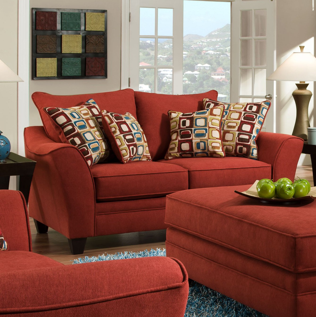 Roundhill Furniture Derek Fabric Loveseat with Pillow - Red