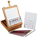 Falling in Art 27 Piece Acrylic Painting Set of 12 Colors with Portable Table Easel Box, Canvas Panels, Brushes, Palette and More (Tamaño: Easel Box Acrylic Set)