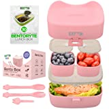 BentoRyte Kids Bento Lunch Box Set with Accessories | Insulated Food Containers for Kids | 3 Compartment BPA Free Container | Meal Prep and Storage Tupperware Boxes | Freezer and Microwave Safe (Color: Pink)