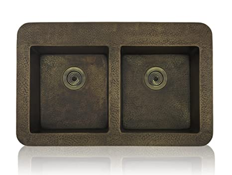 Lenova CT-100 Equal Double Bowl Topmount/Undermount Kitchen Sink, Antique Copper Finish