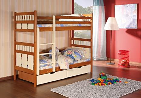 OLIVER Children Bunk Bed - Pine Wood - 22 Colours - 2 Sizes - 4 Types of Mattresses (UK Standard 199cm x 94cm x 160cm)
