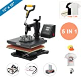 CO-Z 110V Heat Press 360 Degree Swivel Heat Press Machine Multifunction Sublimation Combo T Shirt Press Machine for Mug Hat Plate Cap Mouse Pad (12x10 inches 5 in 1 Intelligent Audible Alarm) (Tamaño: 12