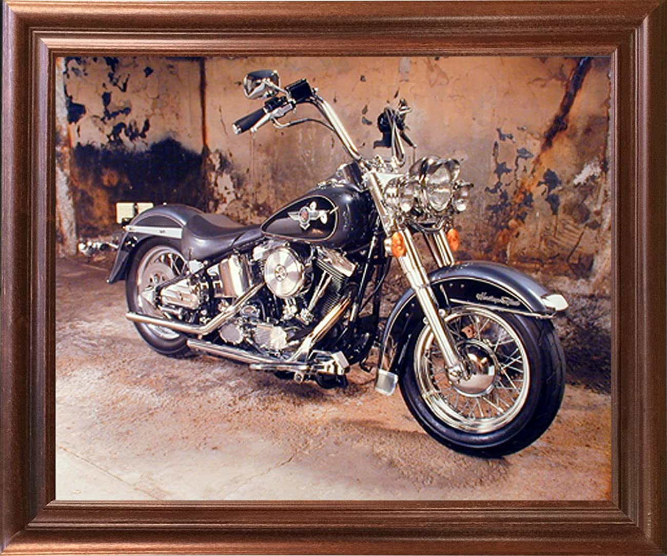 Harley Davidson Black Motorcycle Mahogany Framed Picture Art Print (18x22) 0
