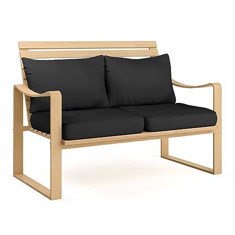 CorLiving LCQ-807-S Aquios Bentwood Sofa, Midnight Black