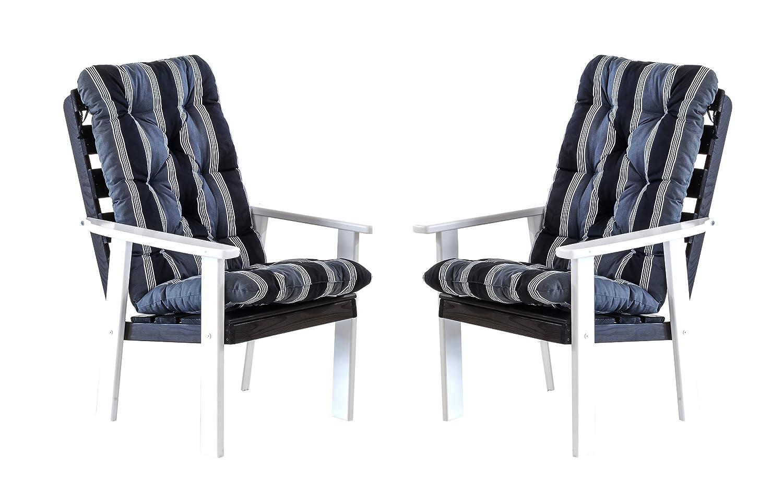 Ambientehome 90327 Gartensessel Gartenstuhl Loungesessel 2-er Set Massivholz Hanko Maxi, weiß / grau mit Kissen, schwarz / grau günstig bestellen