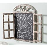 Wall Mounted Whitewashed Brown Wood Windowpane Design Chalkboard Sign with Folding Shutter Doors (Color: Whitewashed Brown, Tamaño: Large)