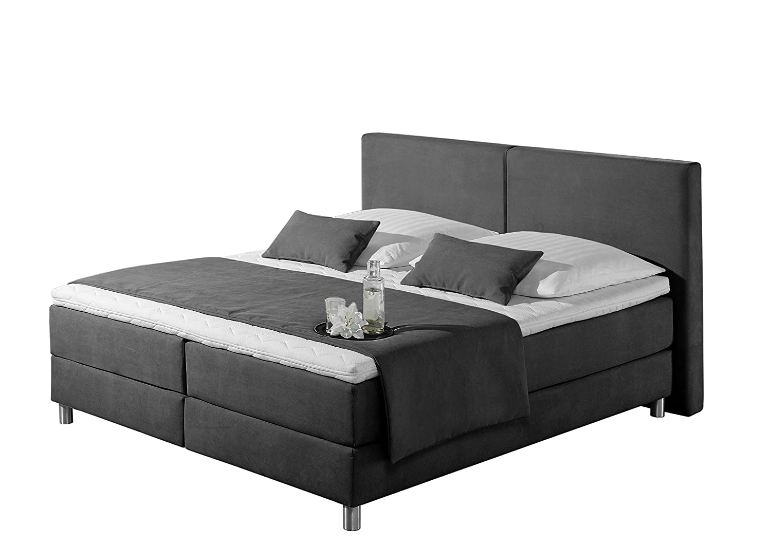 Maintal Betten 237396-4174 Boxspringbett Metropol 160 x 200 cm, Strukturstoff anthrazit