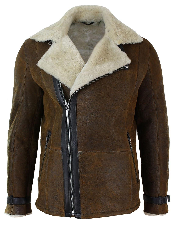 Herrenjacke Braun Schafffell Sherling Vintage Design Eng Tailliert Reißverschluss