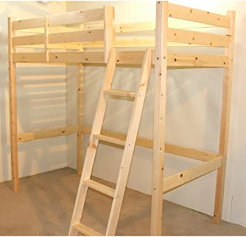 Loft Bunk Bed - 2ft 6 small single wooden high sleeper bunkbed - Ladder can go left or right - INCLUDES 20cm sprung mattress
