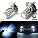2 pcs Ice Blue 80W Super Bright H7 LED Bulbs for Headlight DRL Fog Light