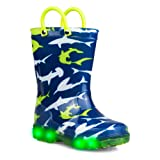 Zoogs Light-up Rain Boots for Boys & Toddlers - Sharks Rainboot, Pull Handles, Blue, Size 10 M Toddler (Color: Blue, Tamaño: 10 M Toddler)