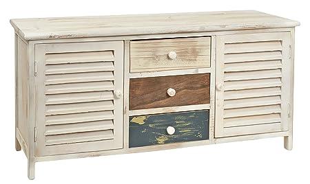 ts-ideen Cómoda estantería armario de madera estilo de la alquería rustico shabby para baño pasillo cocina sala blanco marrón azúl