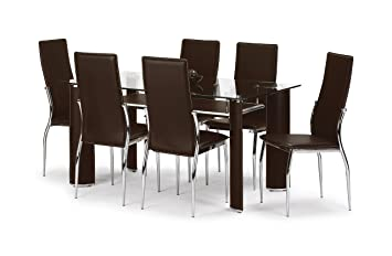 Julian Bowen Boston Dining Table Set with 6 Chairs, Brown