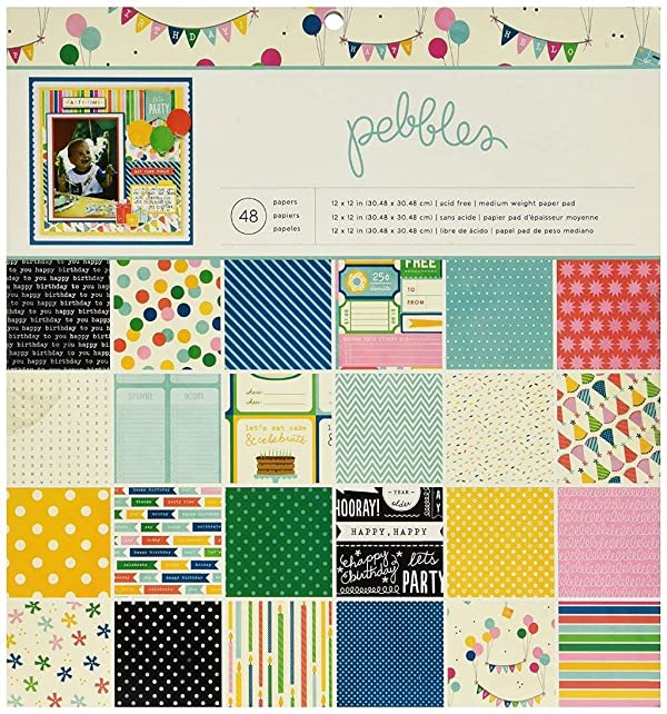 Pebbles Birthday Wishes Paper Pad, 12-Inch x 12-Inch, 48-Pack (Color: Blue, Tamaño: 12-x-12-Inch)