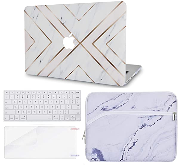 LuvCase 4 in 1 Rubberized Hard Shell Case with Sleeve, Keyboard Cover and Screen Protector Compatible MacBook Air 13 Inch 2019/2018 New Version A1932 with Retina(Touch ID) (White Marble Gold Stripes) (Color: White Marble Gold Stripes with Sleeve, Keyboard Cover and Screen Protector, Tamaño: A1932 New Air 13 (Touch ID))